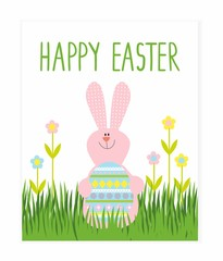 Greeting card with the Easter rabbit with egg. Template Easter greeting card