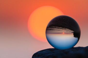 Glass ball at sunset
