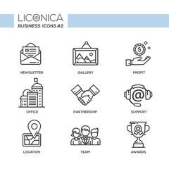 Set of modern office line flat design icons and pictograms