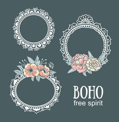 Ornamental Boho Style Frames and elements. Vector illustration.