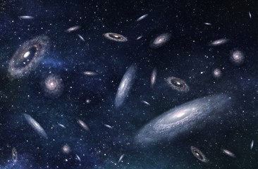Large-scale structure of Multiple Galaxies in Deep Universe. 3D rendered digital illustration