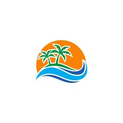 palm tree beach holiday logo