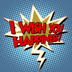 i wish you happiness explosion bubble retro comic book text