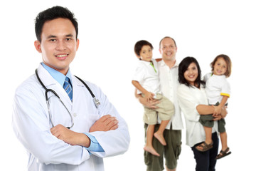 Smiling medical doctor. family healthcare concept