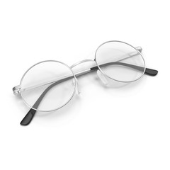 Folded round eyeglasses isolated on white background.