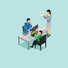 business meeting with isometric concept
