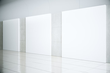 Blank square posters in empty hall, mock up, 3D Render