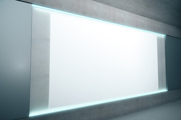 Blank glowing poster on concrete wall, mock up, 3D Render