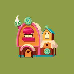 Cute Candy House. Vector Illustartion