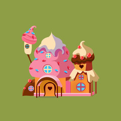 Fantasy Candy House. Vector Illustartion