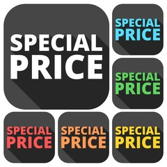 Special price icons set with long shadow
