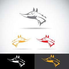 vector fox sign label or tattoo design.