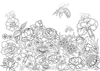 Hand drawn ink pattern. Coloring book Coloring for adult