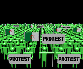 Crowd of people with protest signs and Algerian flags illustration
