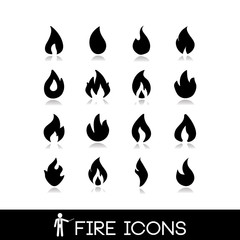 Fire flame icons. Vectors collection set 1.