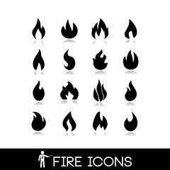 Fire flame icons. Vectors collection set 3.