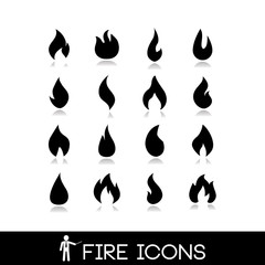 Fire flame icons. Vectors collection set 4.