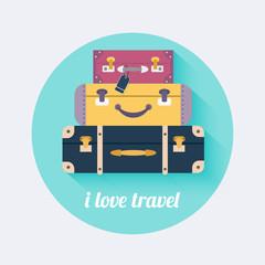 I love travel. Vintage travel luggage background. Flat design st