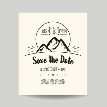 Wedding Invitation Card - Save the Date - with Mountains