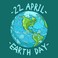 hand drawn ecological Earth Day poster, 22 April
