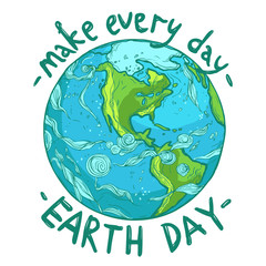 hand drawn ecological Earth Day poster