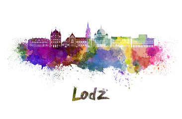 Lodz skyline in watercolor Wall mural
