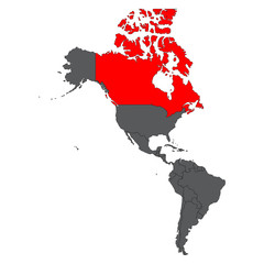 Canada red map on gray America map vector