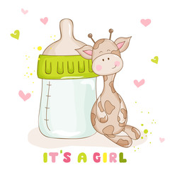 Baby Shower or Baby Arrival Cards - Cute Baby Giraffe - in vector