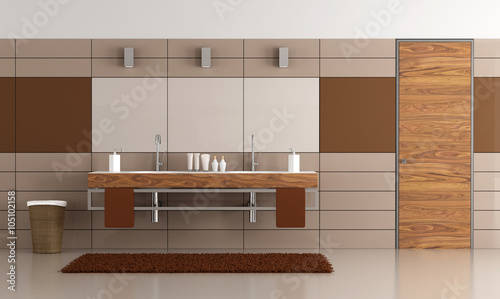 Contemporary bathroom with two washbasin stock photo and for Standardhohe waschbecken