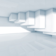 Abstract room interior design with cubes 3d