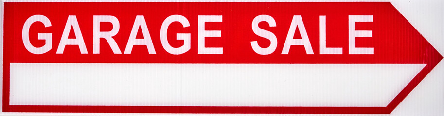 Garage sale sign arrow sign.