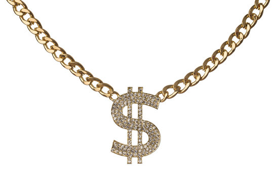 Dollar symbol with golden chain isolated on white background