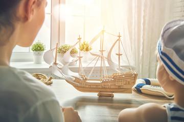 child making model ship