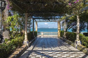 Park on the boardwalk of Cadiz, Genoves Park, Andalusia, Spain