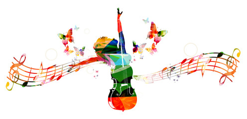 Colorful music background with woman and violoncello