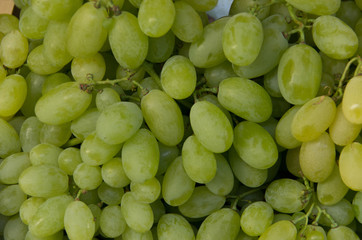 Bunches of fresh white grapes