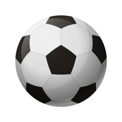Vector illustration. Leather black and white soccer ball isolated on a white background