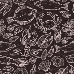 Pattern with seafood hand drawn elements with lobster, octopus, squid, salmon, flounder, crab, mussels, oysters and shrimps on blackboard