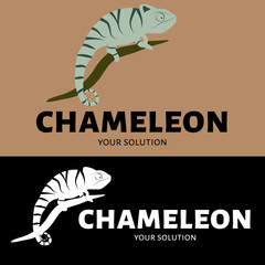 Vector logo chameleon. Brand logo in the shape of a chameleon sitting on a branch