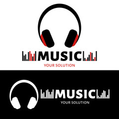Vector logo headphones. Brand logo in the form of music headphones