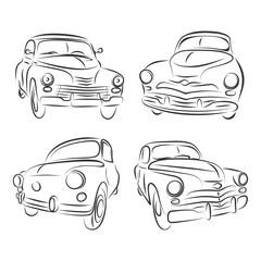 Retro classic cars icons set. Vintage cars vectors.