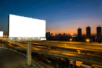 Advertising blank billboard at twilight.