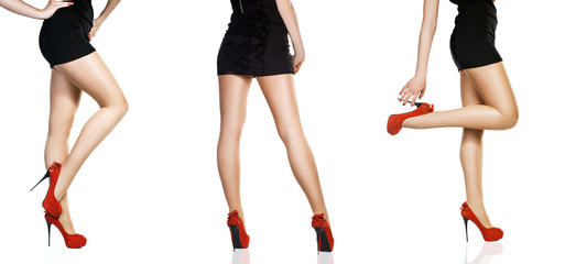 Perfect female legs wearing high heels isolated