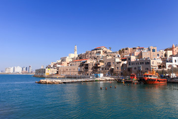 Old port of Jaffa with Tel Aviv's skyline in the background