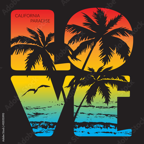 California Paradise Typography Graphics T Shirt Printing Design For