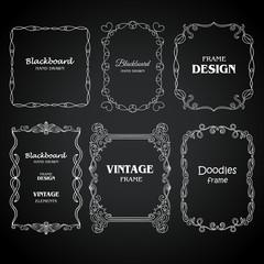 Vintage photo frames set, chalkboard design elements