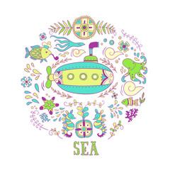 Sea adventure. vector illustration