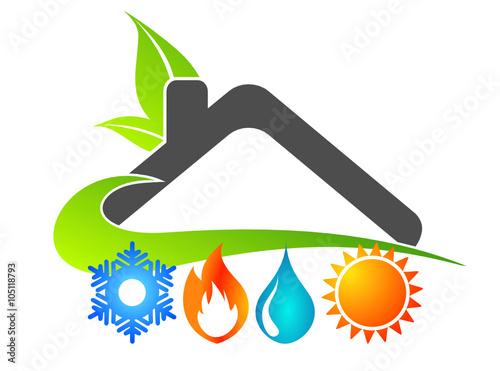 Logo maison nergies renouvelables fichier vectoriel for Maison a energie renouvelable