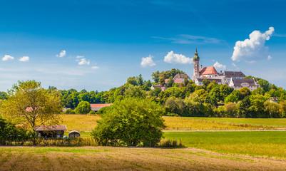Fototapete - Andechs Abbey in summer, district of Starnberg, Upper Bavaria, Germany