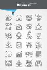 Simple black line Business icons symbol sign collection